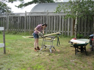 Using the skill saw!